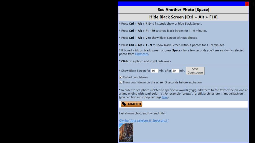 Black Screen with shown context menu